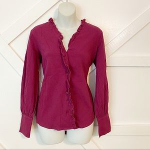 The Fifth Label Ruffle Button Down Top Purple Sz S
